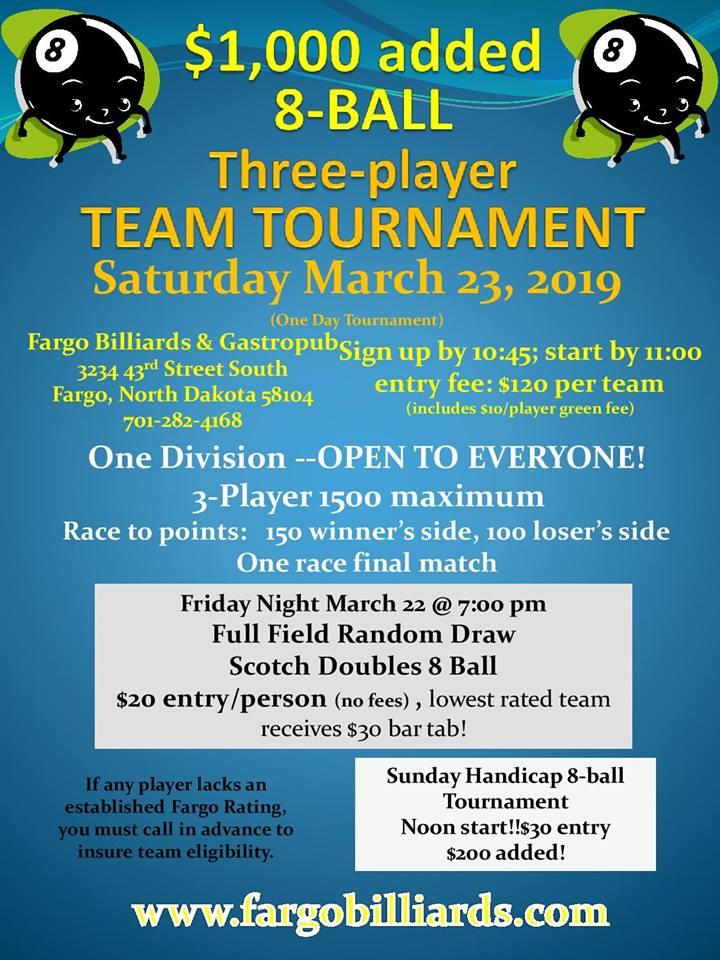 Upcoming Tournaments   Fargo Billiards